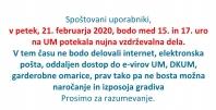 Obvestilo o vzdrževalnih delih na UM