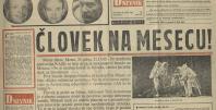 Časopisni članek o prvem človeku na luni